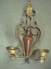 Wood and Gold Metal Candle Sconce/Holder
