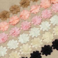 1 Yard 3D. Chiffon Chic Floral Crochet Lace Trim Fabric Wedding Dress Sewing VL3