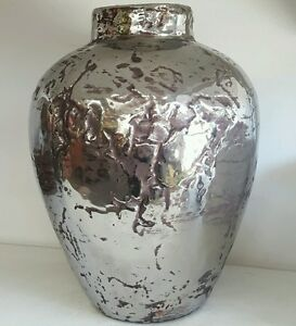 Silver & brown RUSTIC vintage style vase / pot Home decor RRP$139.95 homewares