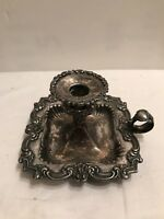 ANTIQUE SILVER PLATE CHAMBER STICK