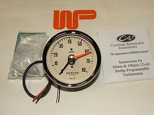 Classique Mini - Smith's Compteur Vitesse Régime En Magnolia 0 - 8000 RPM -