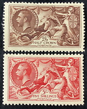 More details for george v fine mint seahorses 2/6 brown & 5/- bright rose red(sg 450 & 451)