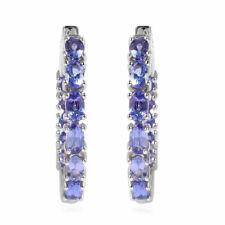 Out Hoops Hoop Earrings Ct 3.7 Silver Platinum Plated Oval Blue Tanzanite Inside
