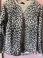 Women Ladies Jay Jays Grey Leopard Fleece Jumper Tops Sweater  XXS