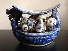 RARE Antique Chinese Blue White Double Dragon Art Pillow Children Porcelain WOW