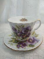 VINTAGE DUCHESS tea Cup & Saucer lilac floral design FINE Bone China-England