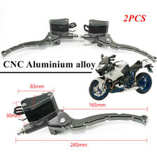 2X Gray 22MM CNC Motorcycle Front Brake Handle Lever Master Cylinder Clutch Pump