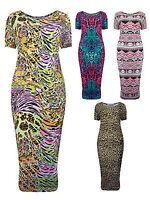 Womens Plus Size Midi Dress Short Sleeved Ladies New UK 16 18 20 22 24 26 28