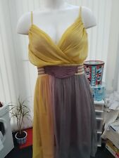 "Ladies BNWT ""TSEGA"" Yellow, Purple & Grey Summer Dress (Size 8-10)"