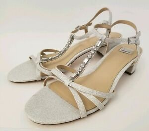 BHLDN Hitherto Madge T Strap Rhinestone Sparkle Bridal Sandals Size 38.5 8.5 New