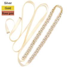 Thin Crystal Bridal Sash Rhinestone Wedding Dress Belts (Silver,Gold,Rose gold)