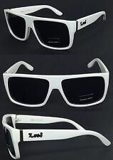 Locs Mens Cholo Biker Flat Top Sunglasses - White Frame/ Black Lens LC81