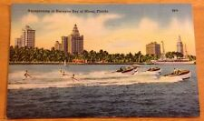Aquaplaning in Biscayne Bay vintage postcard - Miami FL - palm trees+boats