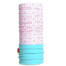 Sciarpa scaldacollo multifunzione doppio tessuto pile celeste/bianco e rosa