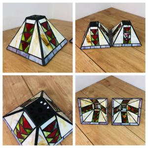 2 Small Vintage Tiffany Style Light Shades Stained Glass Square Shape Retro