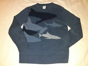 Gap Kids Blue Shark Pull Over Knit Sweater Long Sleeve Youth Boys Sz Large L 10