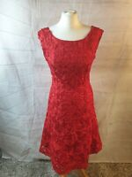 Phase Eight Red Scoop Neck Sleeveless Tapework Fit Flare Midi Party Dress Sz 10