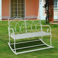 2 Seater Metal Garden Bench Outdoor Rocking Chair Chic White