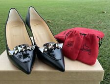 Christian Louboutin 3201495 SO Kate 120 Black Patent Leather Spike Shoes Size 38
