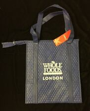 Whole Foods London Insulated Hot Cold Bag Blue White England UK Cool Zipper New