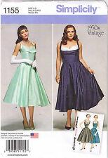 Vtg 50s Retro Rockabilly V-Back Dress Simplicity Sewing Pattern 20 22 24 26 28