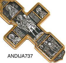 BIG ! RUSSIAN GREEK ORTHODOX ICON CROSS,SILVER 925+.999 GOLD. ARCHANGEL MICHAEL.