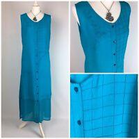 Roman Long Viscose Shift Tunic Dress Turquoise Size 12 14 Summer Splits Boho