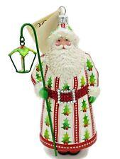 Patricia Breen Stroke of Midnight Holly Santa Christmas Tree Holiday Ornament