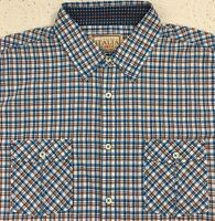 Men's Vintage ITALIA Blue Brown Checked Shirt L Large S/S  NWT $79.50 New NICE!