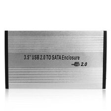 3.5inch Silver USB 2.0 SATA External HDD HD Hard Drive Enclosure Case Box+Screws