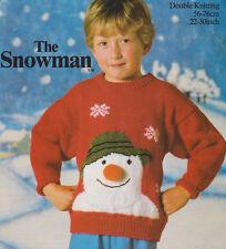 "Snowman Head Childrens Baby  Xmas Sweater DK 22"" - 30"" Knitting Pattern"