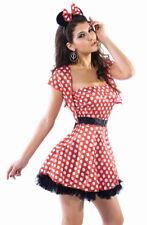 Sexy Women's Red With White Spots Minnie Mouse Fancy Dress Costume