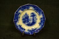 "1800's Antique Flow Blue 8"" Dinner Plate ""Coburg"""