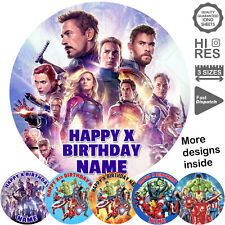 Marvels Avengers Round Cake Topper Personalised Printed on Icing