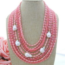 """natural  White Keshi Pearl Pink Coral 18"""" 11 Strands Necklace"""