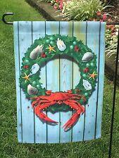 Crab Nautical Wreath Flag -Garden Size beach Ocean Maryland Blue 2Side Made Usa