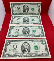 LOT 4 CONSECUTIVE $2 2003 FRN FEDERAL RESERVE NOTE CH UNC DOUBLE REPEAT SERIAL #
