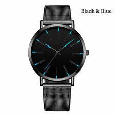 Trendy Men Ultra Thin Minimalist Stainless Steel Quartz Watch Slim Steel Strap