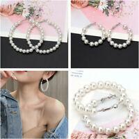 Women Trendy Crystal Pearl Circle Statement Drop Earrings Dangle Wedding Gifts