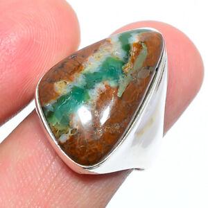 Boulder Chrysoprase - Australia Gemstone 925 Silver Handmade Ring s.7 W3157