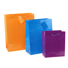 12pc Paper Gift Bags Christmas Gift Wrapping Supplies Party favors Neon Bags