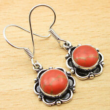 "ORANGE COPPER TURQUOISE Earrings, Silver Plated GEMSTONE Jewelry 1.25"""