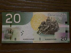 Bank of Canada $20, 2010 series UNC RADAR AUN 0654560 Bill Reid Haida Artist