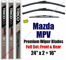 Wiper Blades 3pk Front Rear Standard fit 1997-1998 Mazda MPV 30221//200//170