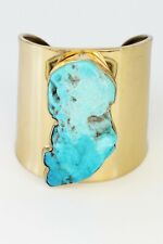Charles Albert Sleeping Beauty Turquoise adjustable Gold metal Cuff, preowned