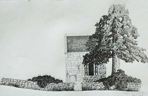 DRAWING INK CHURCH BIG SIZE ARCHITECTURE TREE ORIGINAL ARTIST SIGN