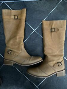 NEXT Tan Leather Riding Biker Boots Size 6 Calf Length