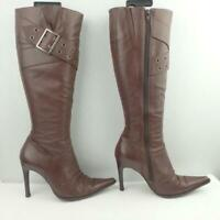 Topshop Leather Boots Uk 4 Eur 37 Womens Stiletto Buckle Shoes Brown Boots