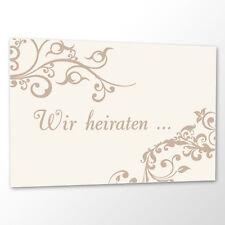 10x Save the Date Karte 'Ornament' creme Hochzeit Vorankündigung Postkarte