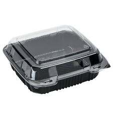 "Polar Pak 29588 8"" x 8"" PET Black and Clear Hinged Take-out Container - 200/Case"